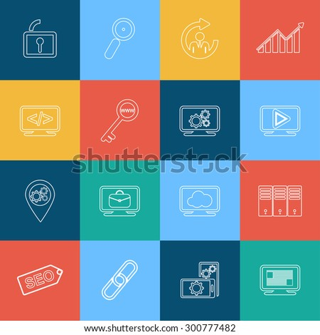 Set of flat design style concept outline seo icons for graphic and web design - stock vector