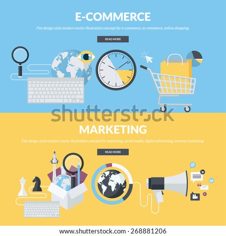 Set of flat design style concepts for e-commerce, m-commerce, online shopping, marketing, social media, digital advertising, internet marketing. Concepts for website banners and printed materials.     - stock vector