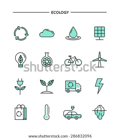 set of flat design, thin line ecology icons, vector illustration - stock vector