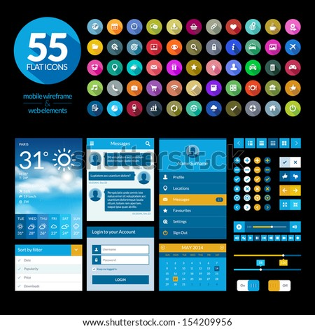 Set of flat design ui elements and icons - stock vector