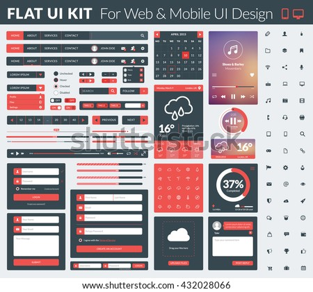Set of flat design UI elements for website and mobile applications. Vector illustration. Icons, buttons, web elements