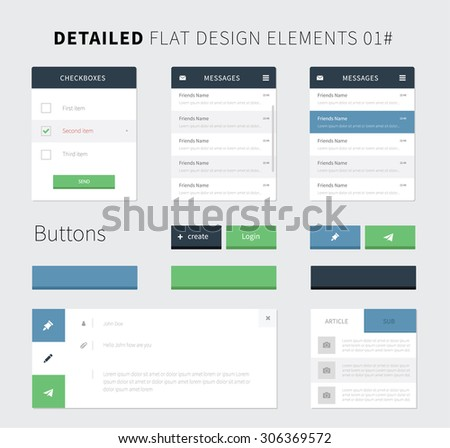 Set of Flat design ui kit for webdesign / Style flat ui kit design elements set for web design. Vector inbox, email, buttons and checkbox for website presentation. - stock vector