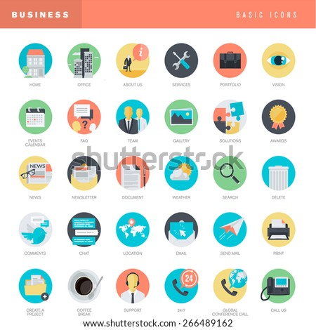 Set of flat design universal icons for business      - stock vector