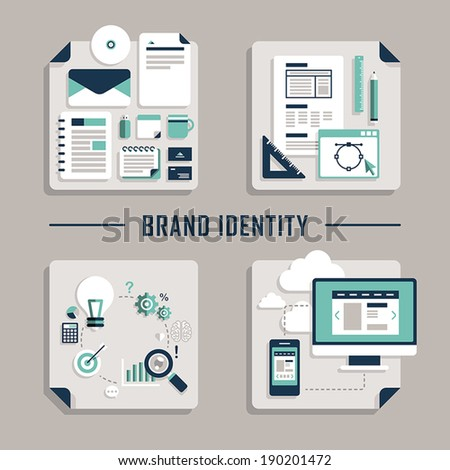 set of flat design vector concept icons for brand identity - stock vector