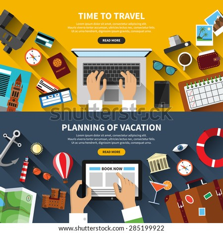 Set of flat design vector illustration concept banners for traveling, planning a summer vacation, online booking, tourism, journey in summer holidays - stock vector
