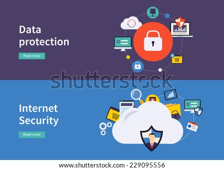 Set of flat design vector illustration concepts for data protection,and internet security. Concepts for web banners and printed materials. - stock vector