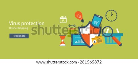 Set of flat design vector illustration concepts for data protection and internet security. Concepts for web banners and printed materials. - stock vector