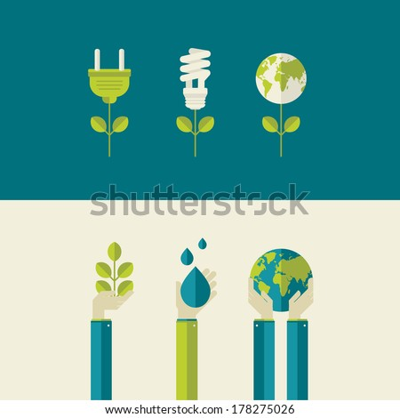 Set of flat design vector illustration concepts for green energy and save the planet, water and nature. Concepts for web banners and printed materials. - stock vector