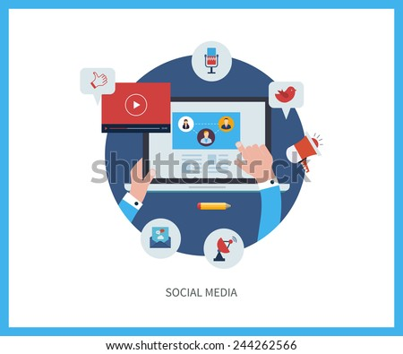 Set of flat design vector illustration concepts for online communication and social media. Concepts for web banners and printed materials. - stock vector