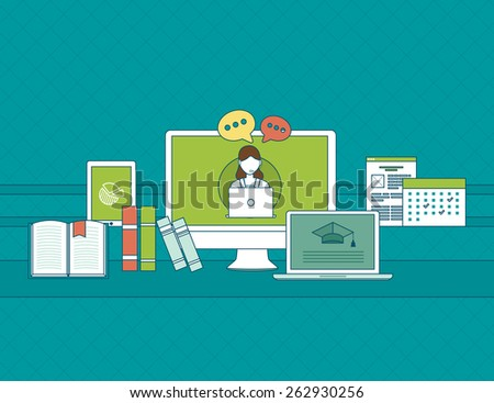 Set of flat design vector illustration concepts for online communication, education and social media. Concepts for web banners and printed materials.  - stock vector