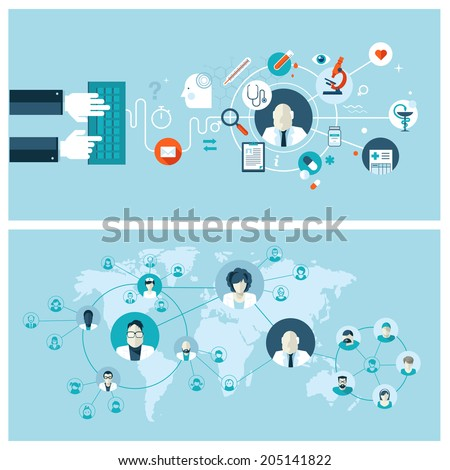 Set of flat design vector illustration concepts for online medical services and support. Concepts for web banners and printed materials. - stock vector