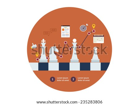 Set of flat design vector illustration concepts for strategy planning, successful business and emerging market - stock vector