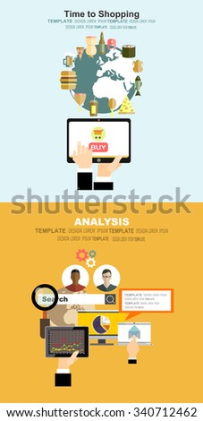 Set of flat design vector illustration concepts of online shopping, mobile marketing and digital marketing.Concepts for business planning and accounting, analysis,project management, marketing. - stock vector