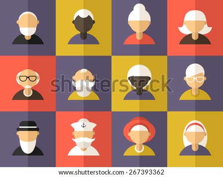 Set of Flat Design Vector Illustrations. Family People. Parents and Children - stock vector