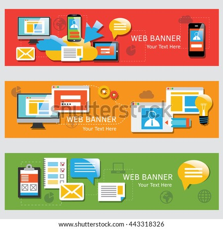 Set of flat design web banners with icons for web and mobile services and apps. - stock vector