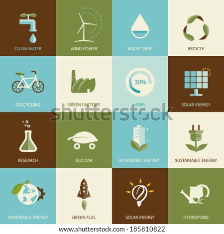 Set of flat designed ecology icons - stock vector