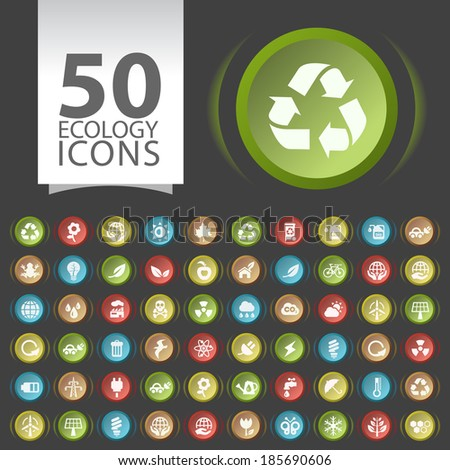 Set of 50 Flat Ecology Icons on Contemporary Circular Buttons on Black Background. - stock vector