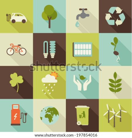 set of flat ecology icons with shadows - stock vector