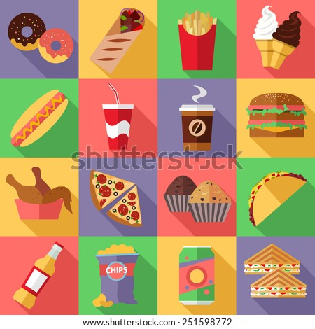 Set of flat fast food icons set. Vector illustration. - stock vector
