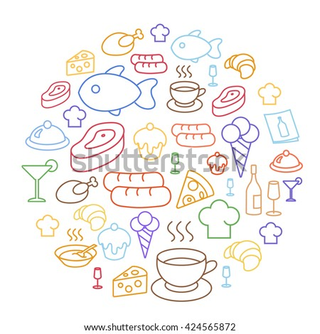 Set of flat food icons drawing line Circular Shaped - stock vector