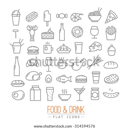 Set of flat food icons drawing with grey lines on white background - stock vector