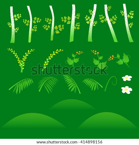 Set of flat forest elements. Include grass, flowers, berries, bushes and trees. Vector illustration - stock vector