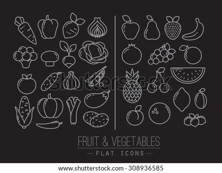 Vector Drawing Straight Lines : Set flat fruits icons vegetables drawing stock photo