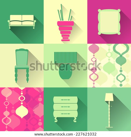 Set of flat furniture icons - stock vector