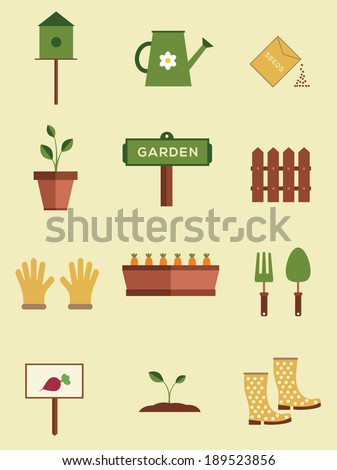 Set of flat gardening equipment icons  - stock vector