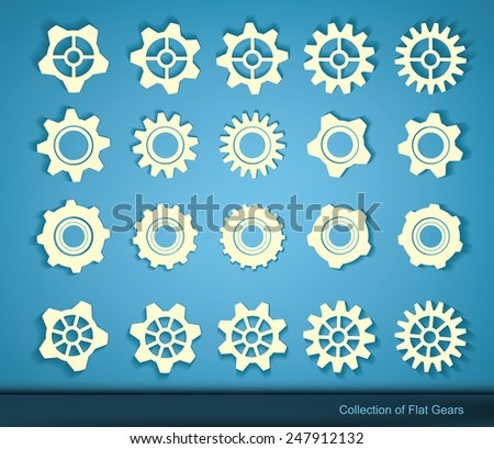 set of flat gears, cogs, wheel symbols - stock vector