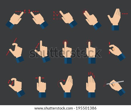 Set of flat hand  icons showing commonly used multi-touch gestures for  touchscreen tablets or smartphones  - stock vector