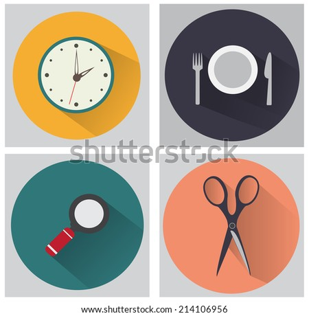 Set of flat icon 1 - stock vector