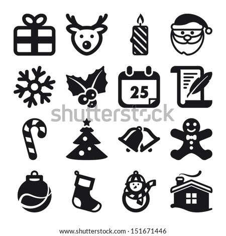 Set of flat icons about Christmas - stock vector