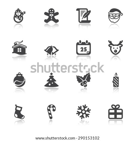 Set of flat icons about Christmas with reflection - stock vector
