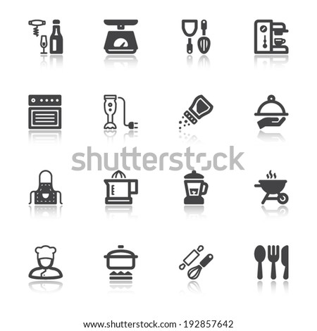 Set of flat icons about cooking with reflection - stock vector