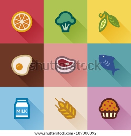 Set of flat icons about food groups. Flat design - stock vector