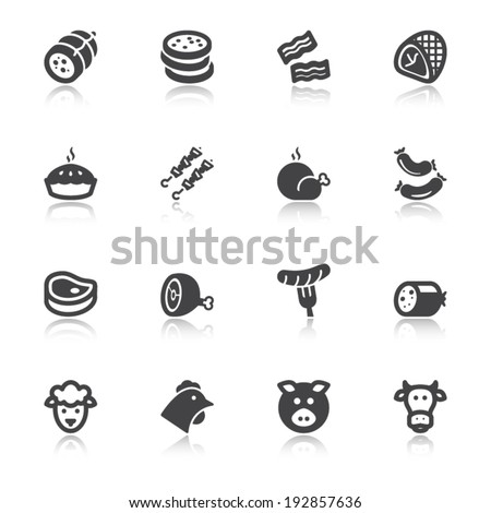 Set of flat icons about meat with reflection - stock vector