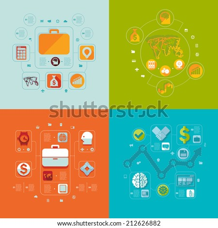 Set of flat icons. Business concept - stock vector