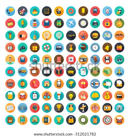 Set of 100 flat icons ( Business icons , Office icons, Medical icons , Media icons , Money icons , communication icons ,Mobile icons , Web icons , Travel icons, Food  & drink icons,  Education icons ) - stock vector