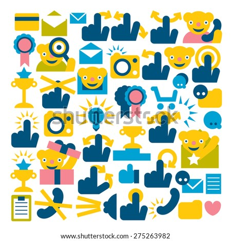 set of flat icons for mobile application menu and navigation - stock vector