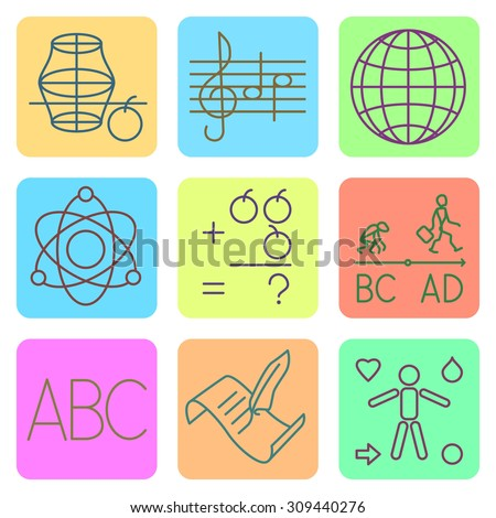 set of flat icons for primary school subjects in color - stock vector