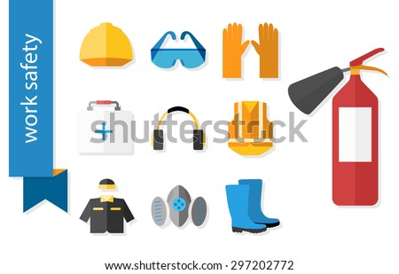 Set of flat icons for safety work. Vector illustration. - stock vector
