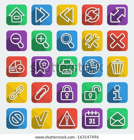 Set of flat icons for web browsing in multicolored squares with long shadows - stock vector