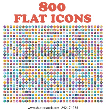 Set of 800 flat icons, for web, internet, mobile apps, interface design: business, finance, shopping, communication, fitness, computer, media, transportation, travel, easter, christmas, summer, device - stock vector