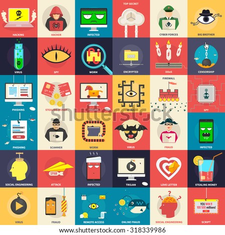 Set of flat icons, illustrations - cyber, computer security, hacker, malware, application development,  fraud on the internet. Design elements for web, mobile applications, infographics. - stock vector