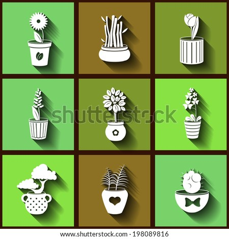 Set of 9 flat icons of different plants and flowers growing in pots. Eps10 - stock vector