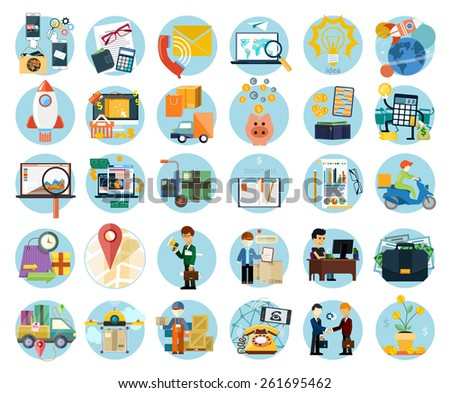 Set of flat icons of earnings, accounts, transport and market analysis, online business, documents, e-mail, idea, start up, delivery of goods, analysis, meeting, performance, investment, marketing - stock vector