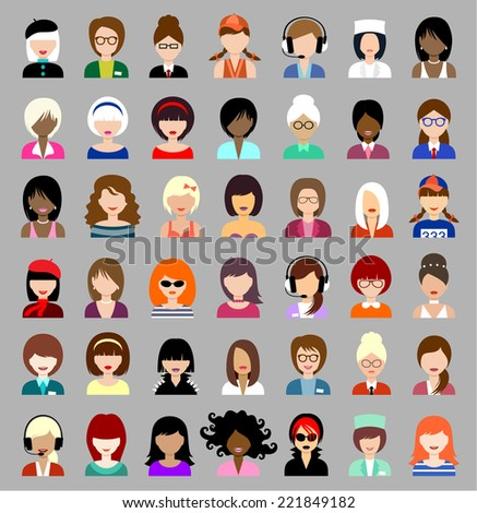 Set of flat icons set with women. vector  - stock vector
