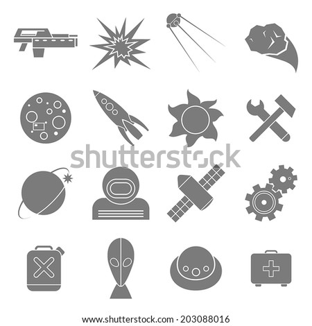 Set of flat icons space. White and gray color - stock vector