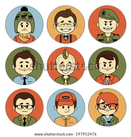 Set of flat icons with characters on white background. Different professions . Flat design. - stock vector